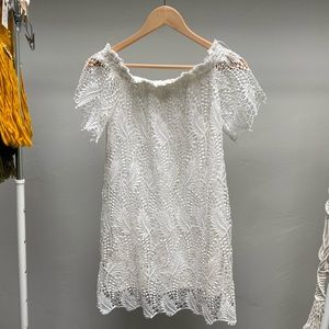 ASTR white off the shoulder lace dress